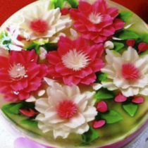 Mosaico floral rosado